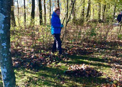 Sabrina hjælper med at rive blade/æbler sammen ude i haven